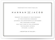 This is a black and white petite wedding invitation by Stacey Meacham called Elegantly Framed with standard printing on signature in petite.