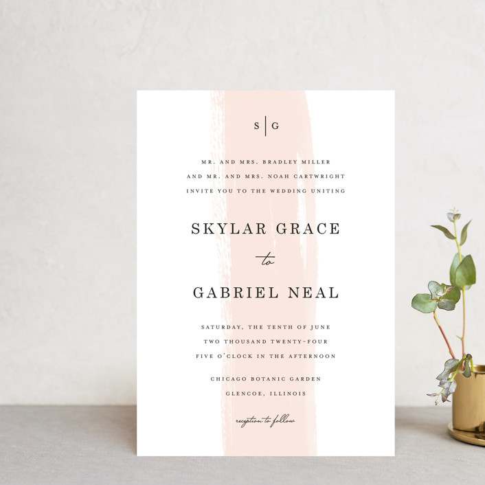 """Single Swath"" - Wedding Invitation Petite Cards in Blush by Angela Marzuki."