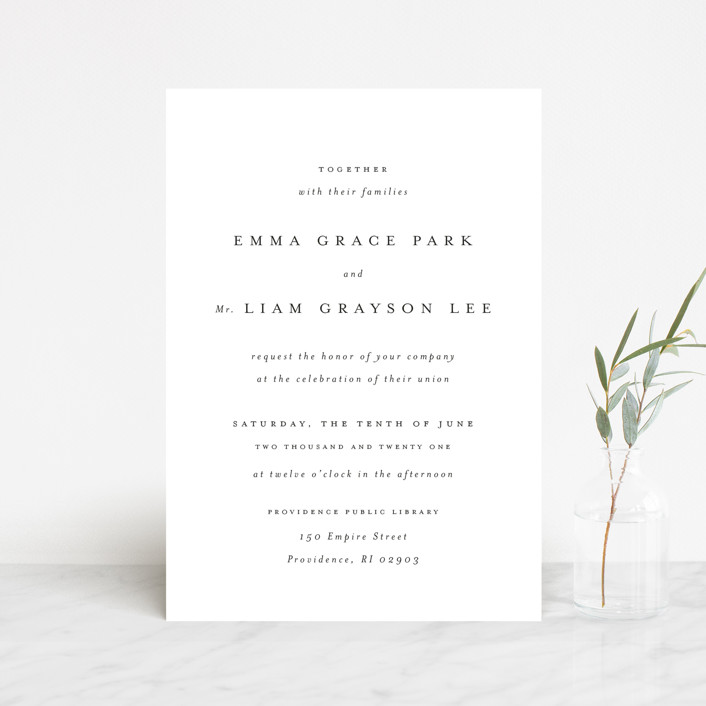 """A Thousand Years"" - Wedding Invitation Petite Cards in Classic White by Design Lotus."