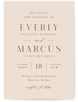 This is a pink petite wedding invitation by Hooray Creative called Everly with standard printing on signature in petite.