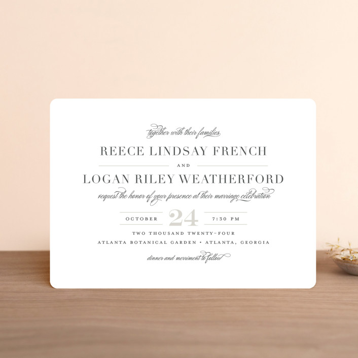 """""""Classical"""" - Wedding Invitation Petite Cards in Taupe by Jessica Williams."""
