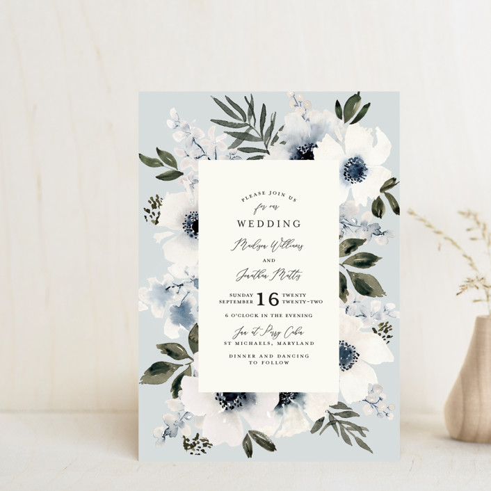 """""""Nantucket Romance"""" - Wedding Invitation Petite Cards in Marine by Chris Griffith."""
