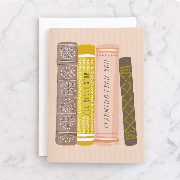"""""""Line the Shelves"""" - Individual Mother's Day Greeting Cards in Blush by Shiny Penny Studio."""