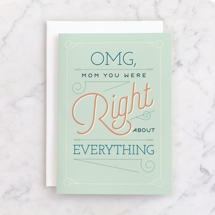 """""""Mother was Right"""" - Individual Mother's Day Greeting Cards in Mint by Eric Clegg."""