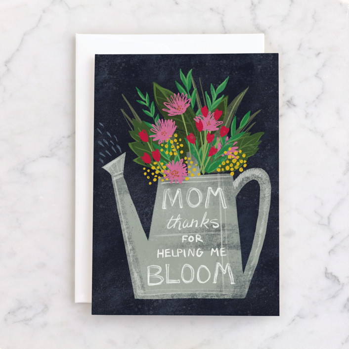 """""""Bloom"""" - Individual Mother's Day Greeting Cards in Navy by Jessica Ogden."""
