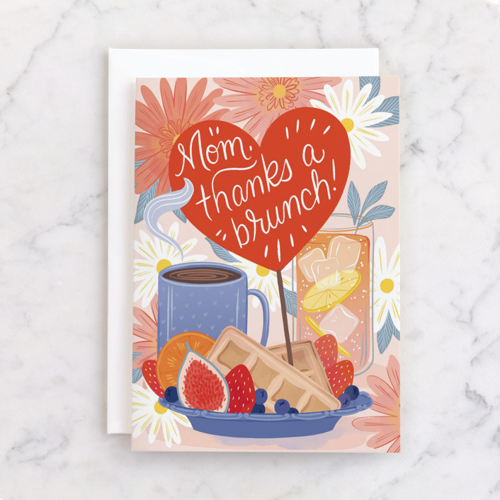 """Sweet Brunch"" - Individual Mother's Day Greeting Cards in Cherry by Paper Raven Co.."