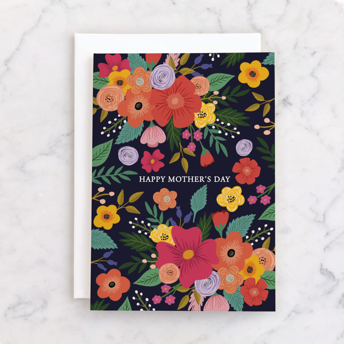 """""""Flower Power"""" - Individual Mother's Day Greeting Cards in Midnight by Juliana Zimmermann."""