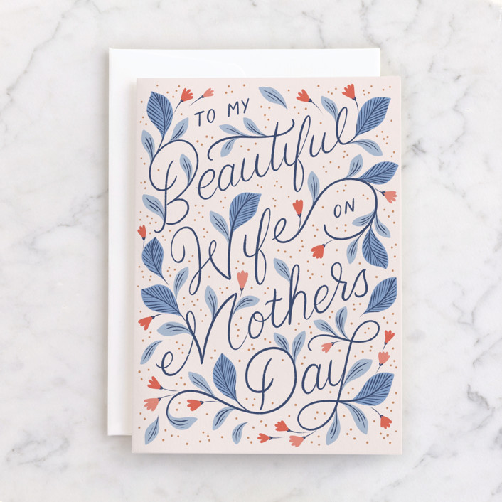 """""""To My Beautiful Wife"""" - Individual Mother's Day Greeting Cards in Blush by Paper Raven Co.."""