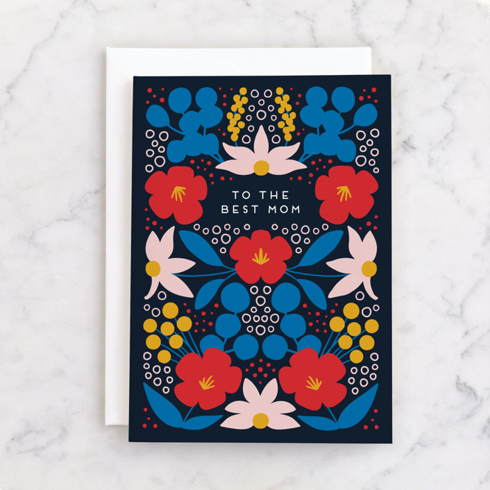 """""""Folk Flowers"""" - Individual Mother's Day Greeting Cards in Navy by Genna Blackburn."""