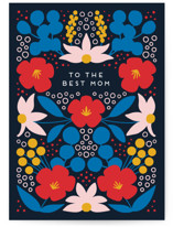 This is a blue mothers day card by Genna Blackburn called Folk Flowers with standard printing on signature in greeting cards.