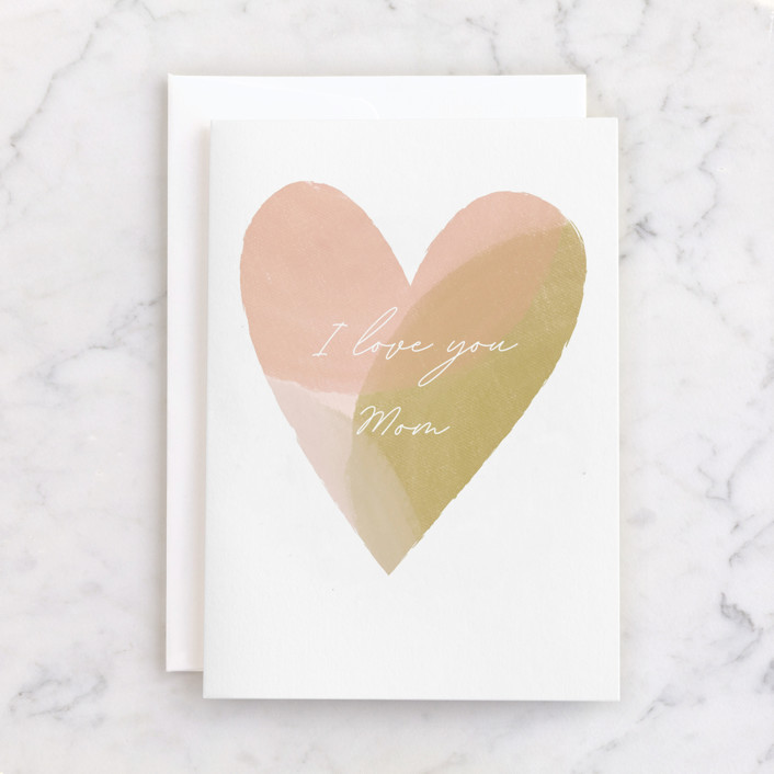 """""""Painted Heart"""" - Individual Mother's Day Greeting Cards in Blush by Stacey Meacham."""