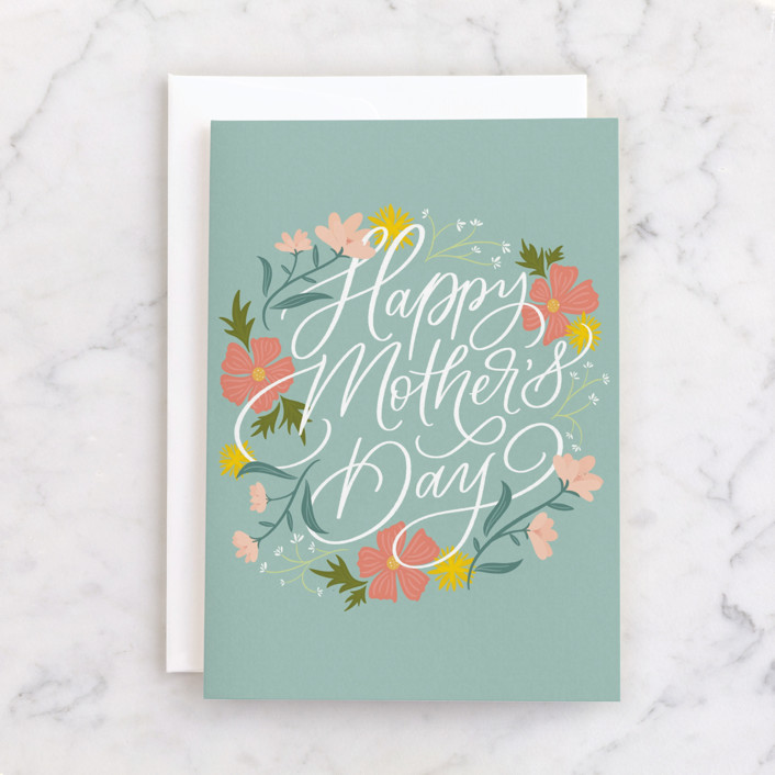 """""""Floral Sentiment"""" - Individual Mother's Day Greeting Cards in Grass by Erin German."""