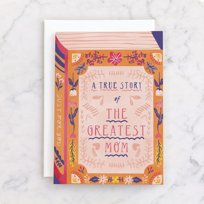 """""""The Greatest Book of History About Mom"""" - Individual Mother's Day Greeting Cards in Peach by kartika paramita."""