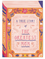 This is a orange mothers day card by kartika paramita called The Greatest Book of History About Mom with standard printing on signature in greeting cards.
