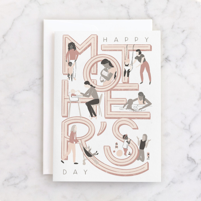 """""""The First Year"""" - Individual Mother's Day Greeting Cards in Blush by Shiny Penny Studio."""