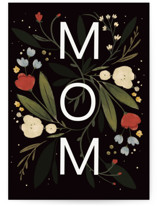 This is a black mothers day card by Hannah Williams called MOM florals with standard printing on signature in greeting cards.