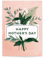 This is a pink mothers day card by Shiny Penny Studio called Botanical Name Plate with standard printing on signature in greeting cards.