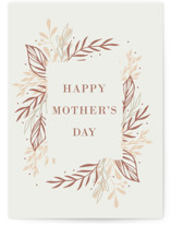 This is a white mothers day card by Oma N. Ramkhelawan called Blossom Leaves with standard printing on signature in greeting cards.