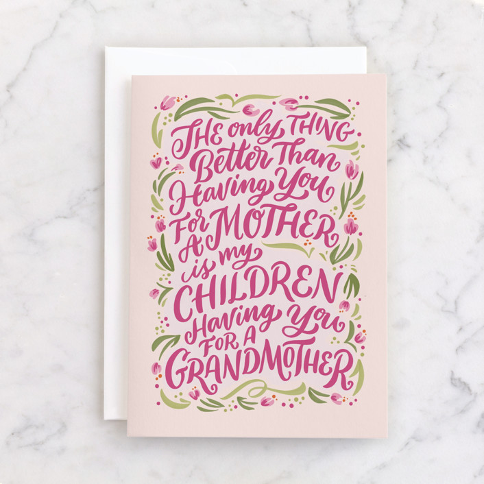 """""""Mother & Grandmother"""" - Individual Mother's Day Greeting Cards in Blush by Laura Bolter."""