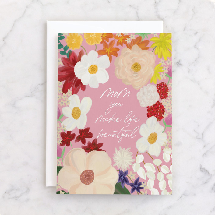 """""""Beautiful life"""" - Individual Mother's Day Greeting Cards in Rose by Yaling Hou Suzuki."""