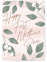 This is a pink mothers day card by Carolyn MacLaren called Mom Greenery with standard printing on signature in greeting cards.