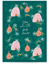 This is a green mothers day card by Jackie Crawford called bees knees with standard printing on signature in greeting cards.