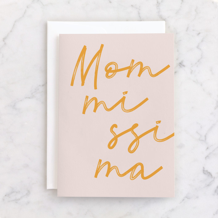 """""""mommissima"""" - Individual Mother's Day Greeting Cards in Mustard by Sumak Studio."""