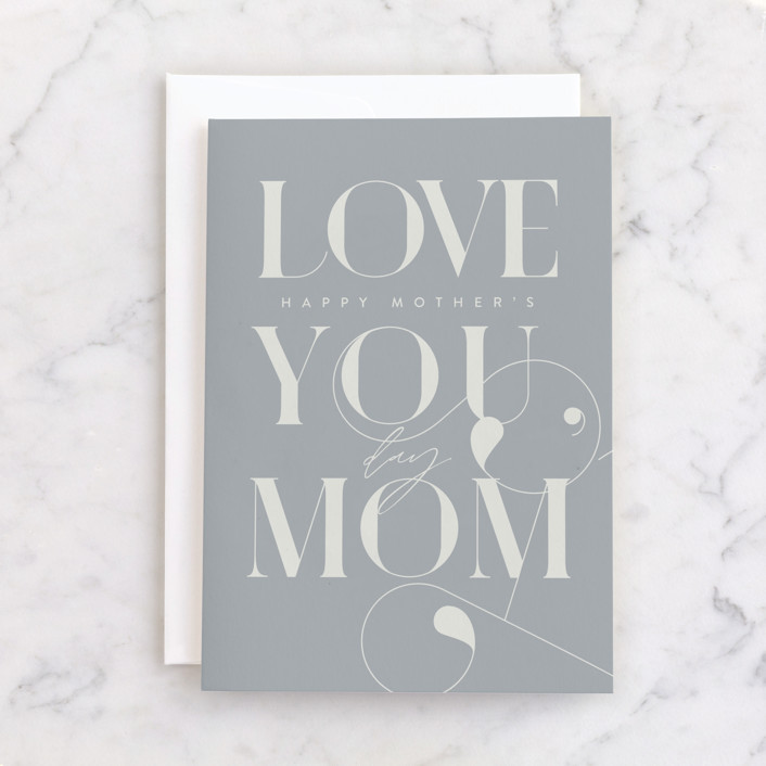 """""""Deco Swoop Mom"""" - Individual Mother's Day Greeting Cards in Cloudy by Everett Paper Goods."""
