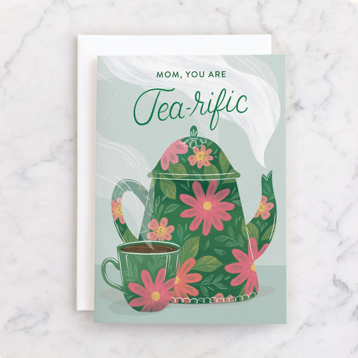 """""""Tea-Riffic Mom"""" - Individual Mother's Day Greeting Cards in Evergreen by Paper Raven Co.."""