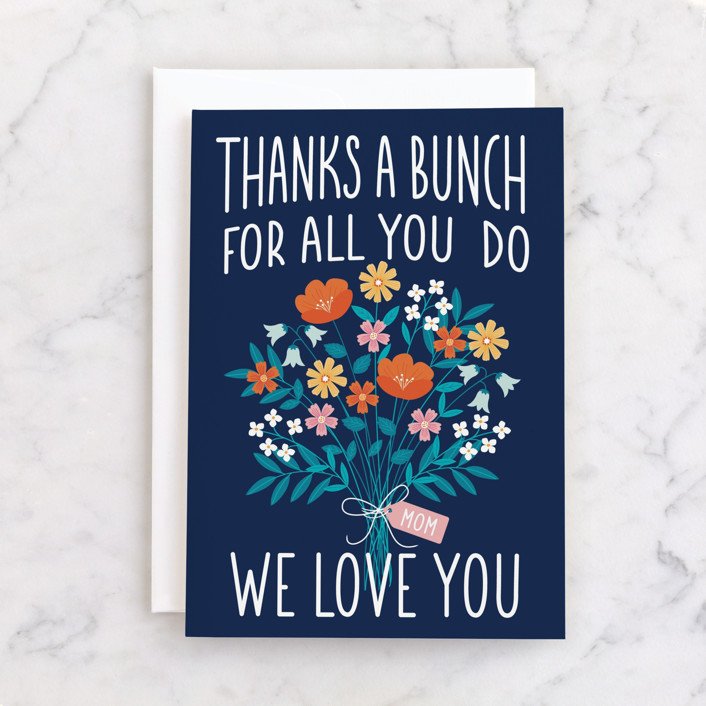 """""""Thanks Bunches"""" - Individual Mother's Day Greeting Cards in Navy by Nam Bourassa."""