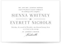 This is a black and white wedding invitation by Jessica Williams called Sienna with standard printing on signature in standard.