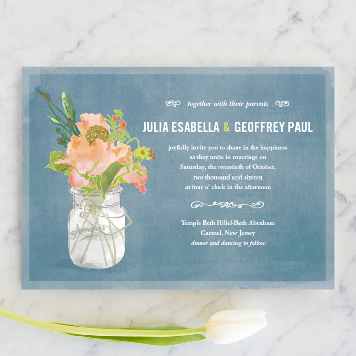 """Bouquet D'Amour"" - Floral & Botanical, Rustic Wedding Invitations in Pacific Jade by Beth Ann."