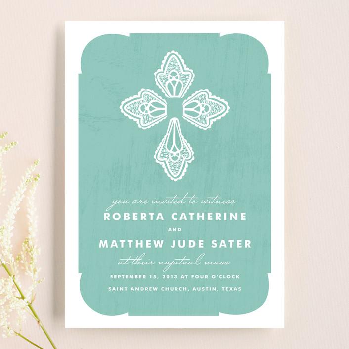 """""""Blessed Lace"""" - Wedding Invitations in Bondi Blue by Yolanda Mariak Chendak."""