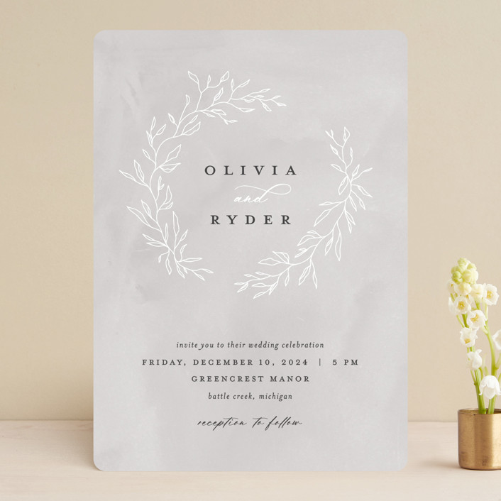 """Abundant Wreath"" - Bohemian Wedding Invitations in Fog by Pixel and Hank."