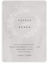 This is a grey wedding invitation by Pixel and Hank called Abundant Wreath with standard printing on signature in standard.