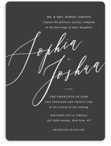 This is a black wedding invitation by Griffinbell Paper Co. called Crescendo with standard printing on signature in standard.
