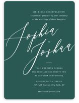This is a green wedding invitation by Griffinbell Paper Co. called Crescendo with standard printing on signature in standard.