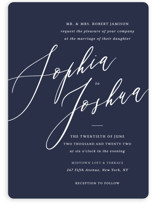 This is a blue wedding invitation by Griffinbell Paper Co. called Crescendo with standard printing on signature in standard.