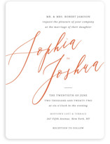 This is a orange wedding invitation by Griffinbell Paper Co. called Crescendo with standard printing on signature in standard.