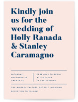 This is a blue wedding invitation by Genna Blackburn called Vogue with standard printing on signature in standard.