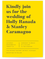 This is a yellow wedding invitation by Genna Blackburn called Vogue with standard printing on signature in standard.