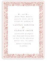 This is a pink wedding invitation by Kanika Mathur called Terracotta with standard printing on signature in standard.
