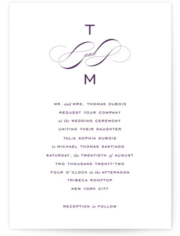 This is a portrait classic and formal, purple Wedding Invitations by Kimberly FitzSimons called Enamored with Standard printing on Signature in Classic Flat Card format. A bold wedding invitation with an eye catching monogram and chic lettering.