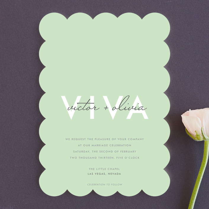 """Viva Las Marriage"" - Modern Wedding Invitations in Soft Leaf by Candice Leigh."