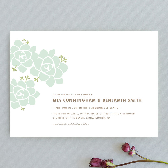 """Sunday Succulent"" - Floral & Botanical, Simple Wedding Invitations in Sea Mist by Carolyn MacLaren."