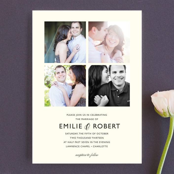 """Moments Captured"" - Modern Wedding Invitations in Ivory by Carrie Eckert."