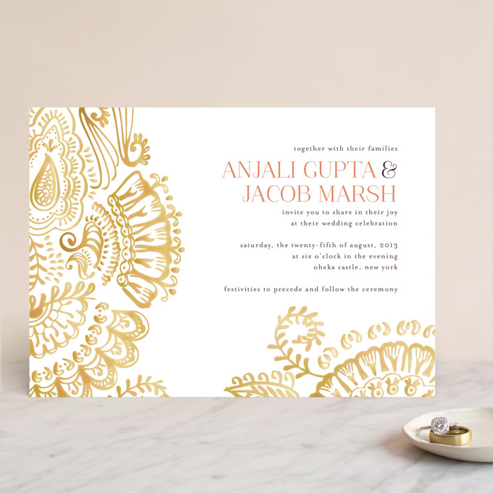 Modern Mehndi Wedding Invitations By Laura Condouris
