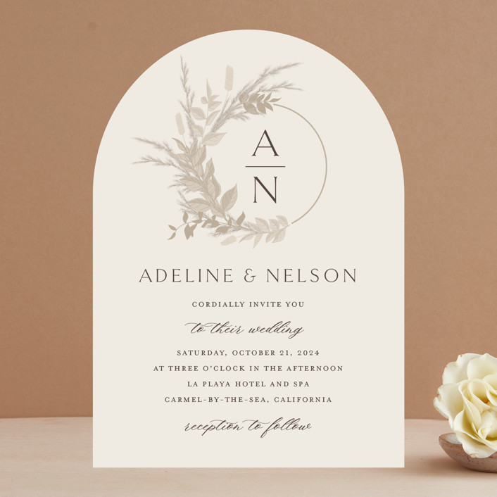 """Preserved Fall Botanicals"" - Bohemian Wedding Invitations in Linen by Erin Deegan."