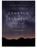 This is a black wedding invitation by Kelly Schmidt called Starry Skies with standard printing on signature in standard.