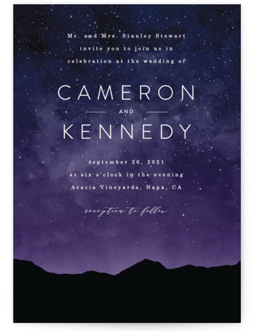 This is a portrait bold and typographic, painterly, purple Wedding Invitations by Kelly Schmidt called Starry Skies with Standard printing on Signature in Classic Flat Card format. A beautiful night sky for a destination wedding